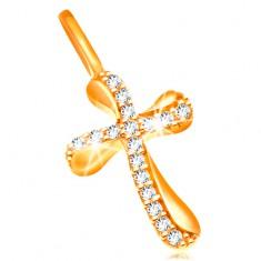 Zlatý přívěsek 585 - křížek se zvlněnými rameny, zdobený čirými zirkony GG204.32