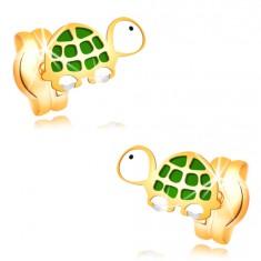Náušnice ve žlutém zlatě 14K - malá zelenobílá želva s černým očkem