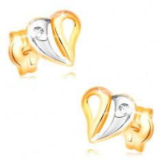 Náušnice ve žlutém a bílém 14K zlatě - dvoubarevné srdce s výřezy a zirkonem