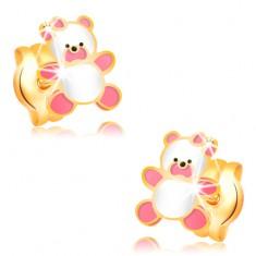 Zlaté náušnice 585, medvídek zdobený růžovou a bílou glazurou, puzetky