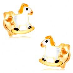 Puzetové náušnice ve žlutém zlatě 14K - bílý houpací koník se žlutou hřívou