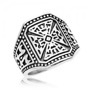 Mohutný prsten stříbrné barvy, ocel 316L, maltézský kříž, zdobená ramena
