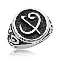 Prsten z chirurgické oceli - černá pečeť se symbolem, ornamenty na ramenech AB35.13