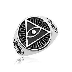 Prsten z oceli 316L, černý patinovaný kruh a trojúhelník s okem
