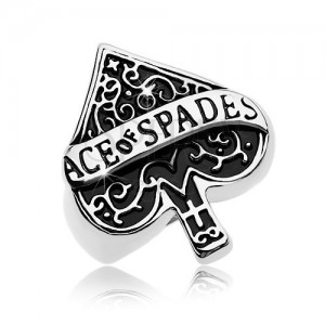 Mohutný prsten z oceli 316L, patinovaný symbol pikového esa, nápis