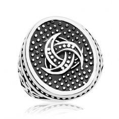 Ocelový prsten, tečkovaný ovál s keltským motivem, ornamenty na ramenech AB36.01/02