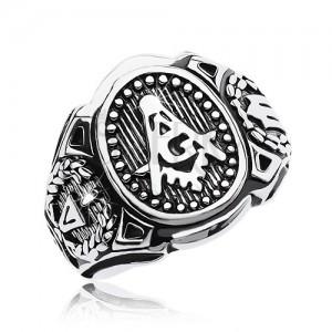 Prsten z chirurgické oceli, velký ovál a symboly svobodných zednářů