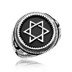 Mohutný prsten stříbrné barvy, ocel 316L, Davidova hvězda v černém kruhu AB36.07/08