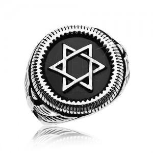 Mohutný prsten stříbrné barvy, ocel 316L, Davidova hvězda v černém kruhu