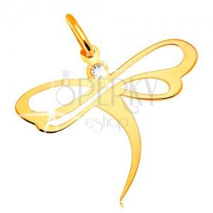 Přívěsek ve žlutém 14K zlatě - vážka se vsazeným zirkonem a výřezy na křídlech