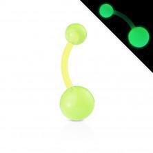 Bioflex, piercing do pupíku - kuličky s malými bublinkami, svítící ve tmě