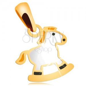 Přívěsek ve žlutém 14K zlatě - bílý houpací koník se žlutou hřívou