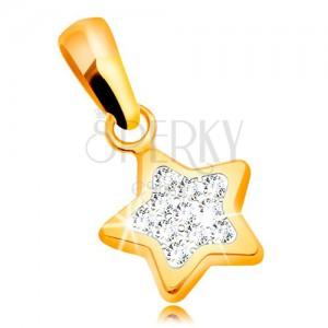 Přívěsek ze žlutého zlata 585 - třpytivá pěticípá hvězda, čiré zirkony