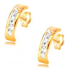 Náušnice ze žlutého 14K zlata - oblouk zdobený linií čirých zirkonů