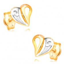 Briliantové náušnice ve žlutém a bílém 14K zlatě - srdce s výřezy a diamantem