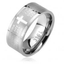 Ocelový prsten, matný pás s lesklým křížem a modlitbou otčenáš, 6 mm