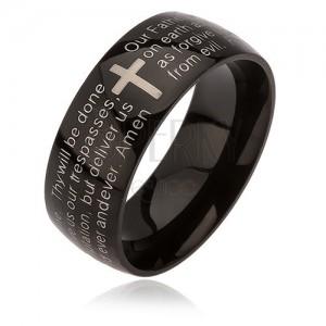 Černý prsten z chirurgické oceli, kříž stříbrné barvy, modlitba otčenáš, 6 mm