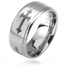 Matný prsten z oceli 316L, liliové kříže, lesklé snížené okraje, 6 mm