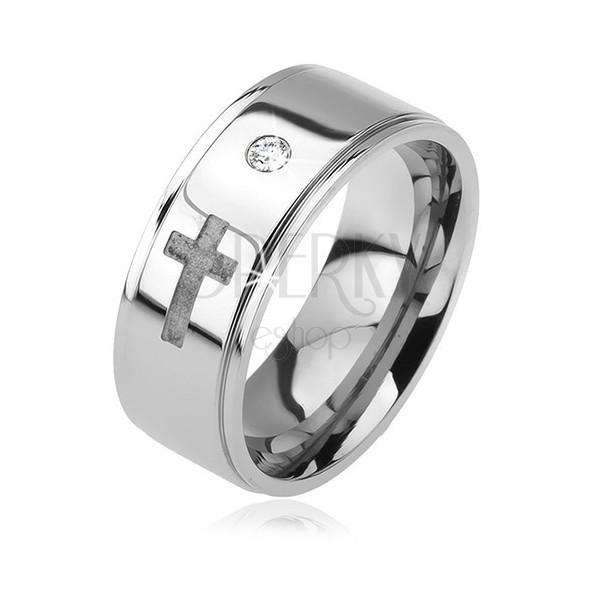 Lesklý ocelový prsten - vystouplý pás, čirý zirkon, matný kříž, 6 mm