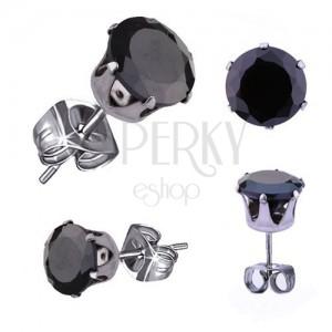 Náušnice z oceli 316L, stříbrná barva, kulatý zirkon černé barvy, 3 mm