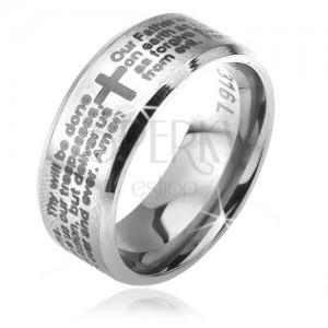 Prsten z chirurgické oceli stříbrné barvy, zkosené okraje, modlitba otčenáš, 6 mm