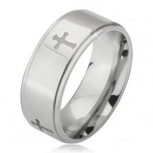 Ocelový prsten stříbrné barvy, vyryté křížky a snížené okraje, 6 mm