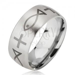 Matný prsten z chirurgické oceli stříbrné barvy, potisk s křížem a rybou, 6 mm