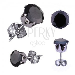 Ocelové náušnice ve stříbrném odstínu, černý kulatý zirkon, 5 mm