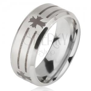 Prsten z oceli 316L stříbrné barvy, potisk s proužky a kříži, 6 mm