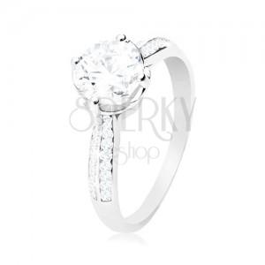 Zásnubní prsten, stříbro 925, čirý kulatý zirkon v dekorativním kotlíku