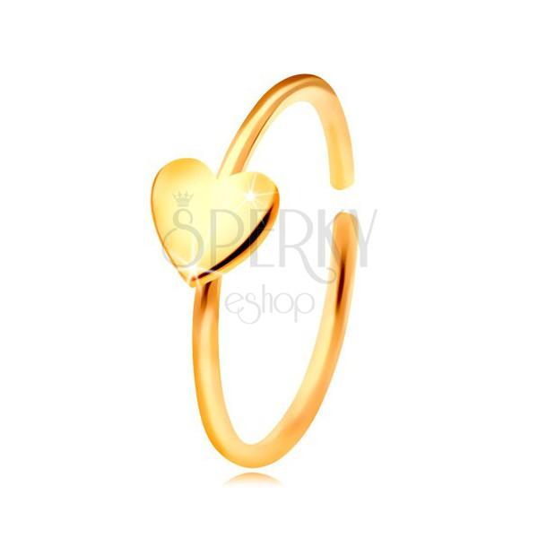 e5ef6e5cb Zlatý 585 piercing do nosu, lesklý kroužek se srdíčkem, žluté zlato ...