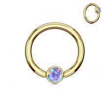 Piercing z oceli 316L, lesklý kroužek zlaté barvy se syntetickým opálem