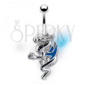 Piercing do pupíku drak s modrými křídly