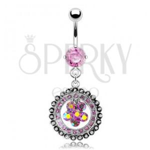 Luxusný piercing do pupíku vykládaný květ