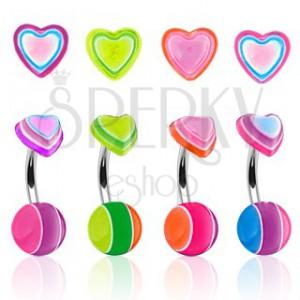 Piercing do pupíku barevné srdíčko