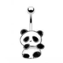 Piercing do pupíku - panda s bílou a černou glazurou