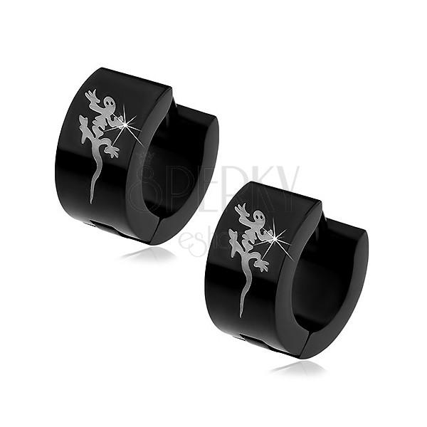 Ocelové černé náušnice s ještěrkou stříbrné barvy