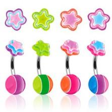 Piercing do pupíku - vícebarevná hvězdička