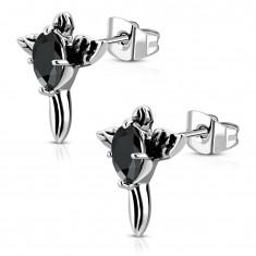 Ocelové náušnice - patinovaný kříž s černým zirkonem a křídly AA07.15