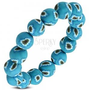 Pružný náramek FIMO, modré korálky s květy na gumičce