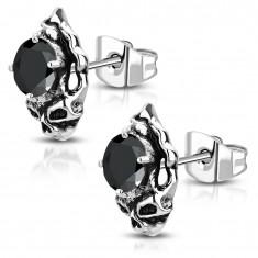 Ocelové náušnice - patinovaná lebka s černým broušeným zirkonem AA08.11