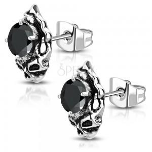 Ocelové náušnice - patinovaná lebka s černým broušeným zirkonem