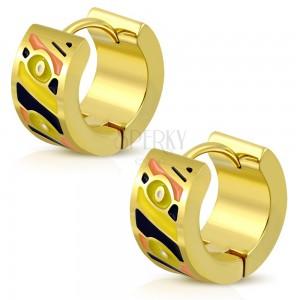 Kruhové náušnice z oceli 316L ve zlatém odstínu, glazované plošky různých barev