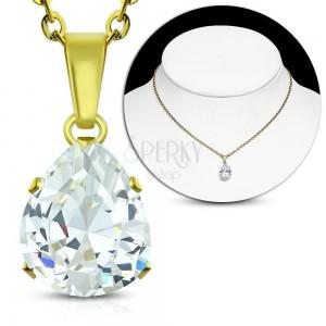 Ocelový náhrdelník zlaté barvy, čirá zirkonová slza, blýskavý řetízek