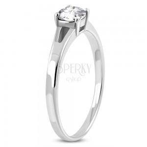 Zásnubní prsten z chirurgické oceli, stříbrná barva, čirý zirkon, rozdělená ramena