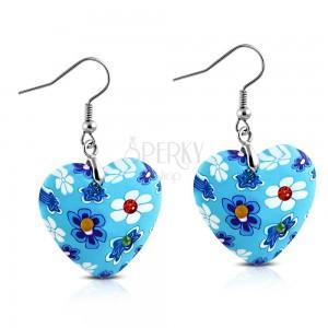 Náušnice visící na háčcích, modrá FIMO srdíčka s květy a zirkony