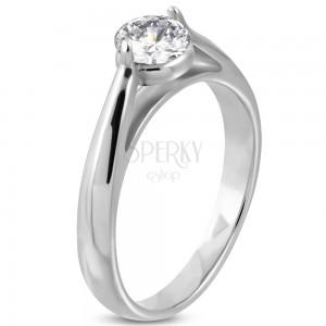 Zásnubní prsten, ocel 316L stříbrné barvy, čirý zirkon, zaoblená ramena