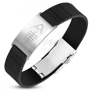 Ocelovo-pryžový náramek, černý řemínek se známkou stříbrné barvy, rybí kost