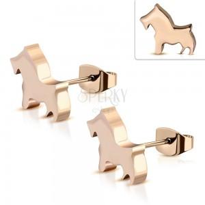Náušnice z chirurgické oceli měděné barvy - malý psík, puzetky