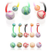 Piercing do pupíku barevná koule